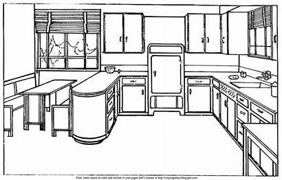 Paper Kitchen Coloring Doll Dolls Kitchens Different