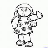 Cabbage Patch Coloring Drawing Draw Doll Clip Dolls Popular Step Coloringhome sketch template