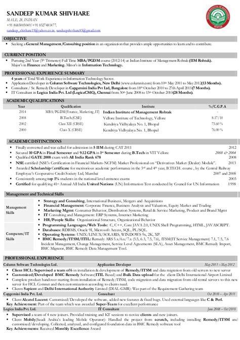 Iim ahmedabad student resume