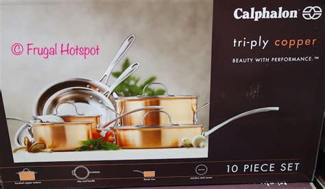 costco sale calphalon  pc triply copper cookware set
