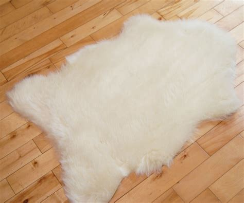 Imitation Rugs by Fluffy New Plain Ivory Sheep Skin Rug Soft Faux Fur