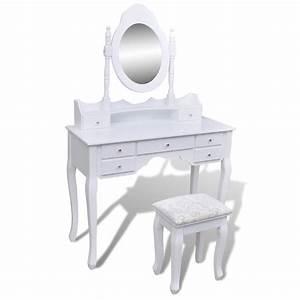 Coiffeuse Meuble Blanc : la boutique en ligne coiffeuse blanche 7 tiroirs avec 1 miroir et 1 tabouret ~ Teatrodelosmanantiales.com Idées de Décoration