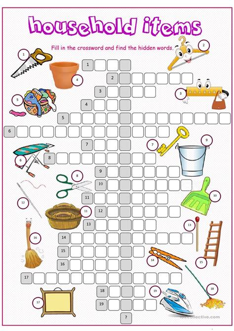 household items crossword puzzle worksheet  esl