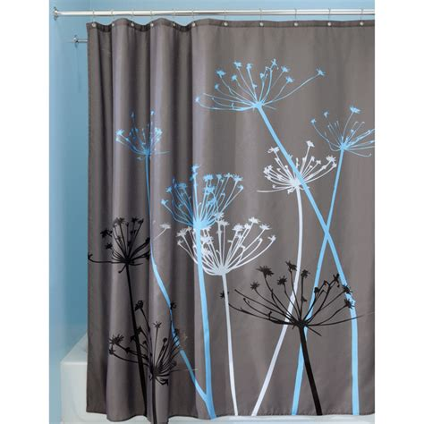 interdesign thistle blue  grey fabric shower curtain