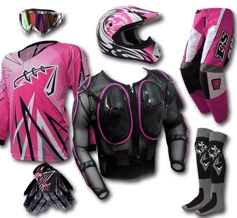 female motocross gear womens mx helmet goggles jersey pants gloves armour dirt
