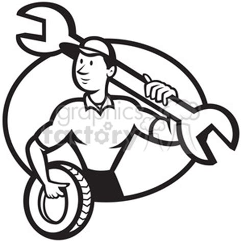 mechanic clipart black and white royalty free black and white mechanic spanner tyre front