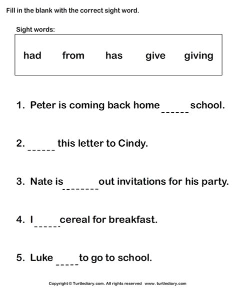 fill   sight words worksheet turtle diary
