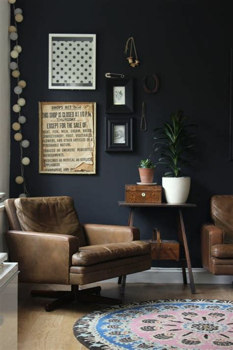 living room black walls 70 walls painting ideas in dark shades fresh design pedia