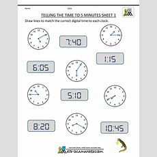 Telling Time Clock Worksheets To 5 Minutes