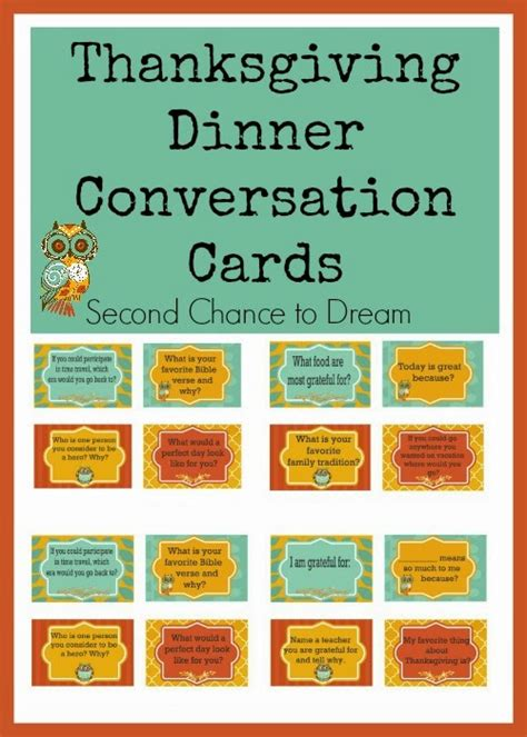 thanksgiving dinner conversation cards  chance