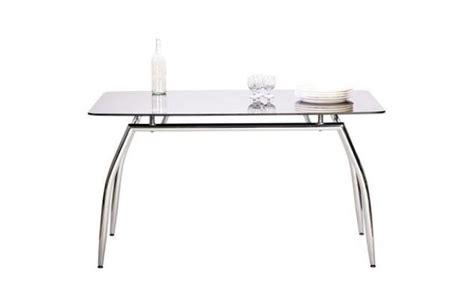 table de salle 224 manger cuisine design berlin en m 233 tal chrom 233 et verre tremp 233 noir miliboo