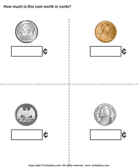identify   worth  coins worksheet turtle diary