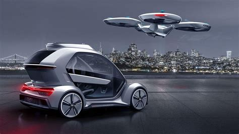 future flying cars audi and airbus present mind blowing flying drone car