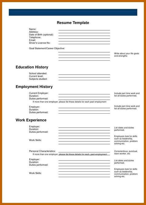 blank basic resume templates cvideas