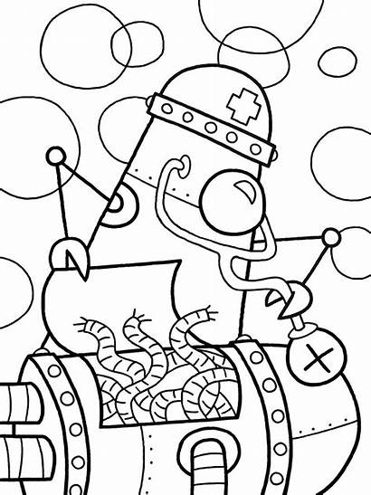 Coloring Robot Pages Cheating October Animal Inktober