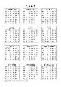 Free Printable 2007 Calendar