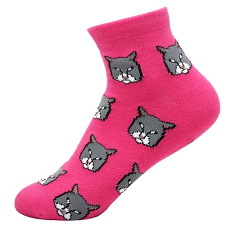 colorful kitty cat animal graphic print cotton short socks