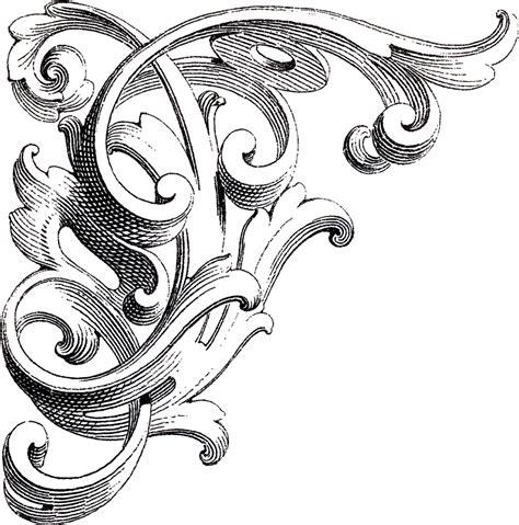 vintage corner scrolls design  graphics fairy