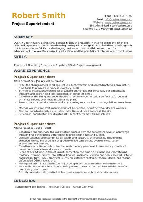 project superintendent resume samples qwikresume