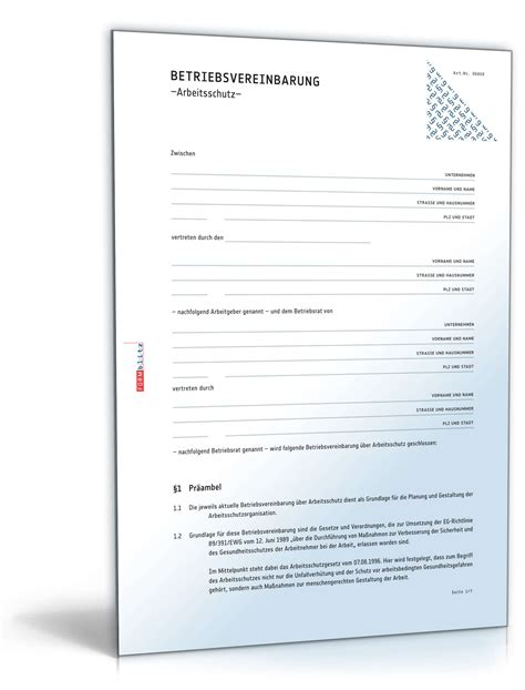 betriebsvereinbarung arbeitsschutz vorlage zum