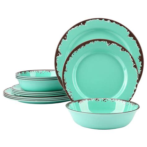 melamine dinnerware dishes rustic outdoor amazon pcs camper sets camping tableware kitchen country service shatterproof sc st serving description