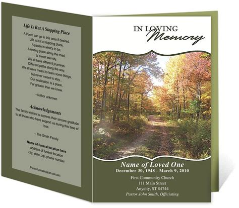 fall funeral program template program template funeral