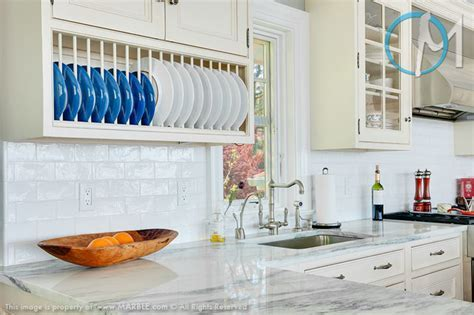 Mountain White Danby Marble Kitchen   Marble.com   Beach