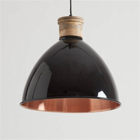 black and copper pendant light by horsfall wright