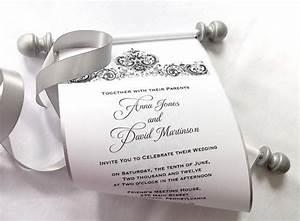 elegant winter wedding invitation scroll black and silver With black and gold scroll wedding invitations
