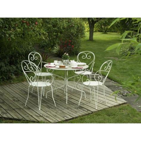 table de jardin en fer forge table de jardin romantique en fer forg 233 avec trou central pour parasol 95 cm blanc achat