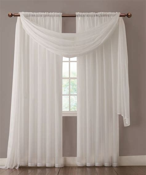 warm home designs pair of white sheer curtains or