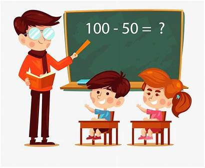 Teacher Student Cartoon Clipart Classroom Students Learning