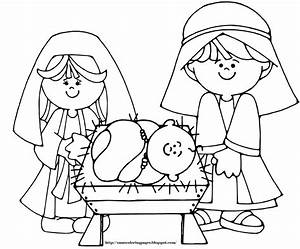 Jesus Christmas Coloring Pages Of Baby In A Manger Grig3org