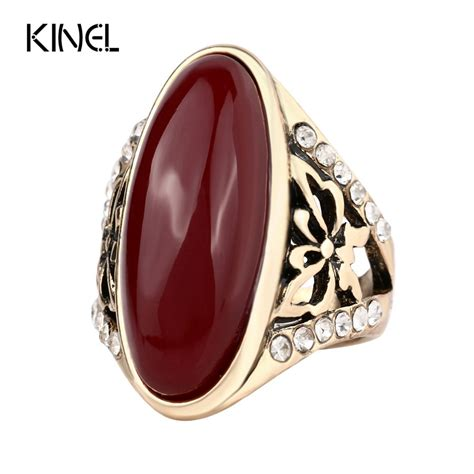 2017 fashion gold plated turquoise rings for women unique