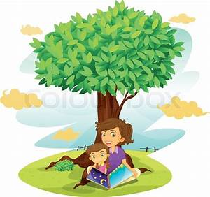 A boy and girl studying under tree | Stock Vector | Colourbox