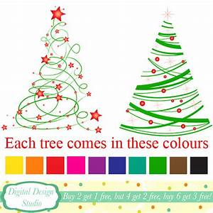 Modern Christmas tree clip art 20 designs. by ...