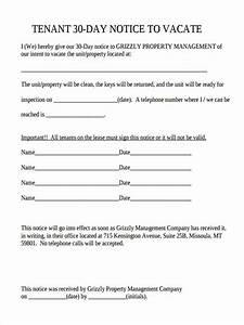 30 day notice to vacate letter to tenant template With free 30 day notice to vacate template