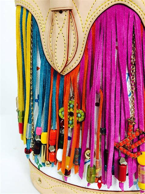 louis vuitton multicolore fringe bucket bag designed  takashi murakami   sale  stdibs