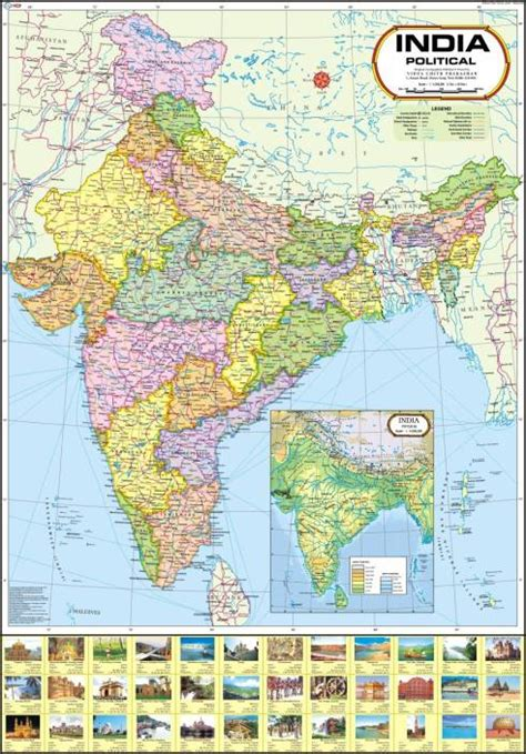 india map political wall chart paper print maps