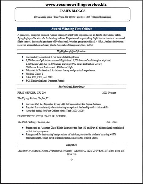 First Officer Resume Sample