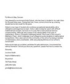 re mendation letter college sample