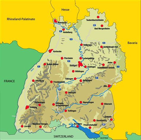 Map of germany and travel information about germany brought to you by lonely planet. Map of Baden-Württemberg - Nations Online Project