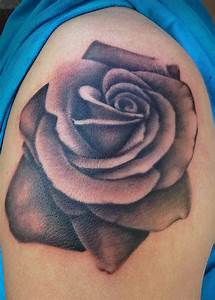 Black And Grey Rose Tattoo On Left Shoulder