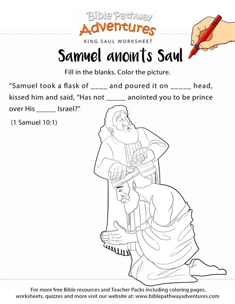 Samuel Anoints Saul Worksheet And Coloring Page Samuel