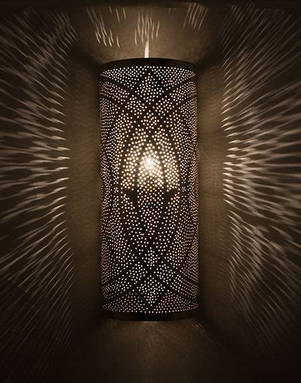 silver moroccan wall light with punched work finish home