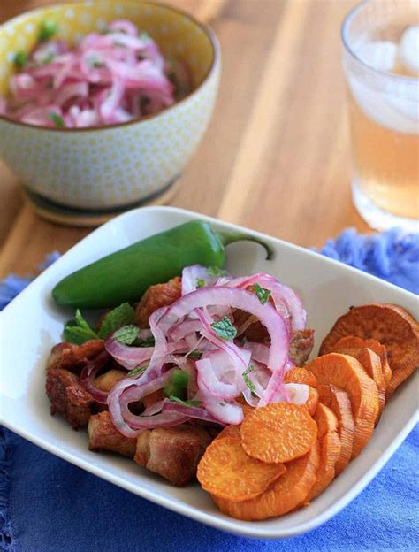chicharrones crispy pork belly with potato and