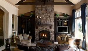 25 interior stone fireplace designs With best brand of paint for kitchen cabinets with metal wall art above fireplace