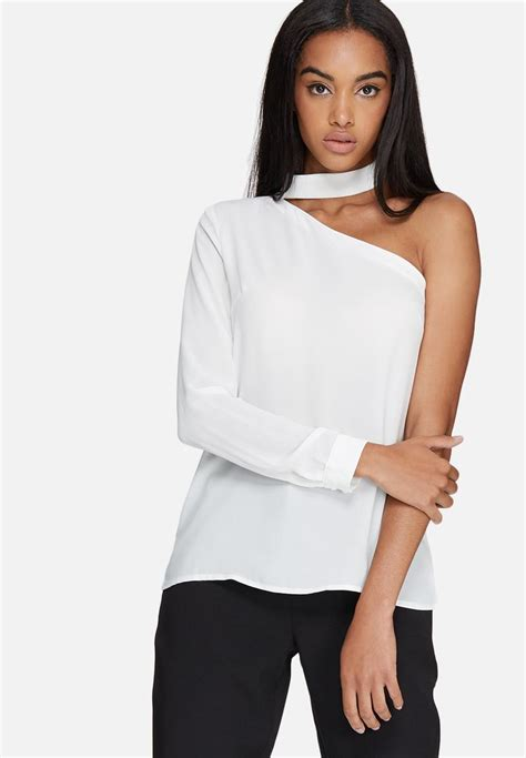 choker neck  shoulder blouse white missguided blouses