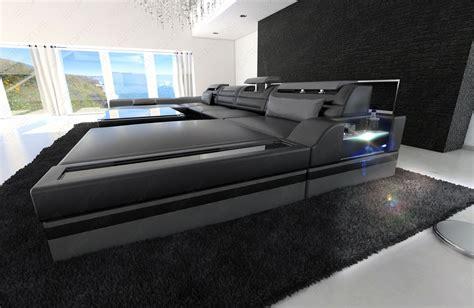 Big Sofa Mit Led Big Sectional Sofa Monza U Shaped With Led Lights Black