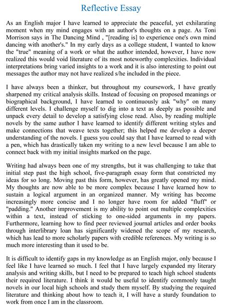 Essay Example Writing How To Reflective Sample Graphic ...